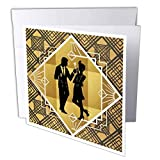 art deco images 3dRose Lens Art by Florene - Art Deco - Image of Art Deco Dressed Couple On Black and Gold Design - 6 Greeting Cards with envelopes (gc_313437_1)