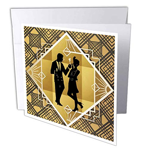 3dRose Lens Art by Florene - Art Deco - Image of Art Deco Dressed Couple On Black and Gold Design - 6 Greeting Cards with envelopes (gc_313437_1)