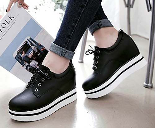 Aisun Womens Casual Studded Round Toe Elevator High Heeled Lace Up Platform Sneakers Shoes Black b9TzwbLgvH