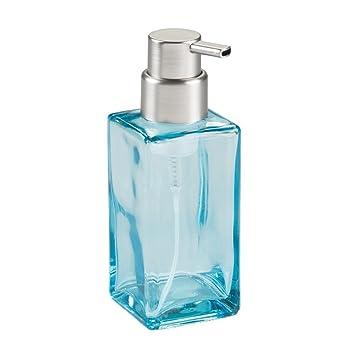 InterDesign Casilla Glass Foaming Soap Dispenser Pump For Kitchen, Bathroom  Countertop And Vanities   Blue