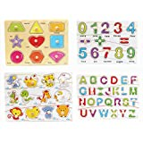 Wooden Puzzles Alphabet Educational Toys for 1 Year Old Girl Boy Gifts (A)