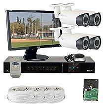 GW Security VD-4CHH10-BK 4 Channel 1 TB HDD, HD-SDI DVR with 4 x 1.3 MP 720P Security Camera, 2.8 - 12 mm Varifocal lens, 180-Feet IR, 22-Inch HD 1080p Monitor (White)