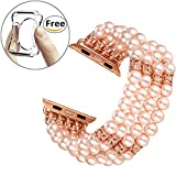 Fastgo Band for Apple Watch Band 42mm, Fashion Handmade Beaded Elastic Stretch Faux Pearl Bracelet Replacement iWatch Strap Women Girls for Apple Watch Series 3/2/1 (Pink-42mm)