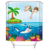 Kids Shower Curtain, Children Jumping From Tropical Palm Tree on Island to Ocean Dolphin Cora Reefs Underwater Bathroom Decor for Boys Girls, 66 x 72 Inch, Multicolor
