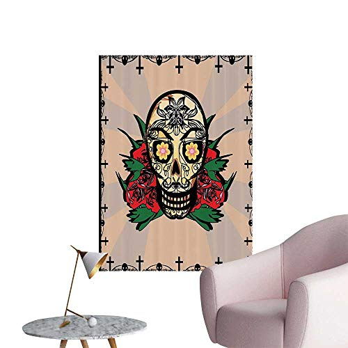 Modern Decor Sugar Skull with Red Rose and Cross Spooky Halloween Horror Mystic Theme Ideal Kids Decor or Adults,12