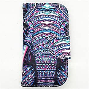 ZXC The Elephant Pattern PU Leather Full Body Case with Card Slot and Stand for S3 Mini I8190N