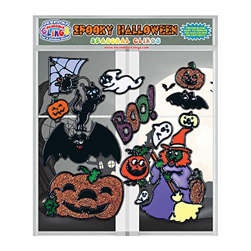 JesPlay Fun Spooky Halloween Gel Window Clings for Kids and Toddlers – Incredible Flexible Gel Cling Decorations Stick to Most Surfaces - Witch, Pumpkin, Black Cat, Spider, Boo, Ghost and More
