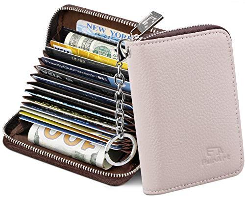 FurArt Credit Card Wallet, Zipper Card Cases Holder for Men Women, RFID Blocking, Key Chain, 16 Slots, Compact Size (Beige)