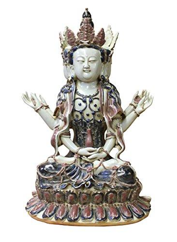Chinese Tong Style Blue Red White Porcelain Kwan Yin Tara Bodhisattva Statue Acs2959