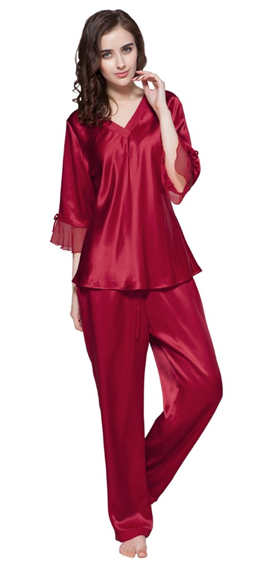 LILYSILK Women's 100% Pure Silk Pajamas Set V Neck 3/4 Long Sleeve 22 Momme Mulberry Silk Claret Size 4-6/S