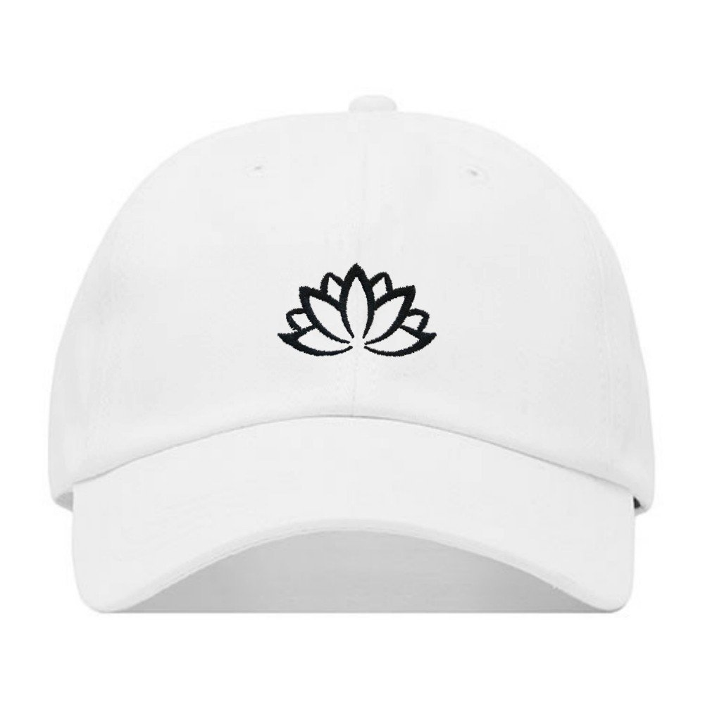 6d71c86e Lotus Flower Dad Hat, Embroidered Baseball Cap, 100% Cotton, Unstructured  Low Profile, Adjustable Strap Back, 6 Panel, One Size Fits Most (Multiple  Colors) ...