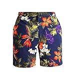 Polo Ralph Lauren Men's Monaco Watercolor Floral Swim Trunks (Navy Tropical, 38)