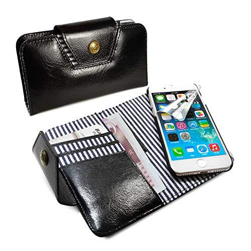 Alston Craig Personalised Genuine Leather Ladies Stripe Magnetic Purse Case Cover for Apple iPhone 6s / 7 - Black