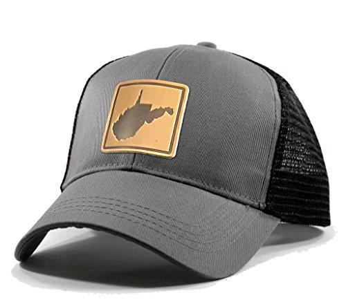 Homeland Tees Men's West Virginia Leather Patch Trucker Hat - Grey