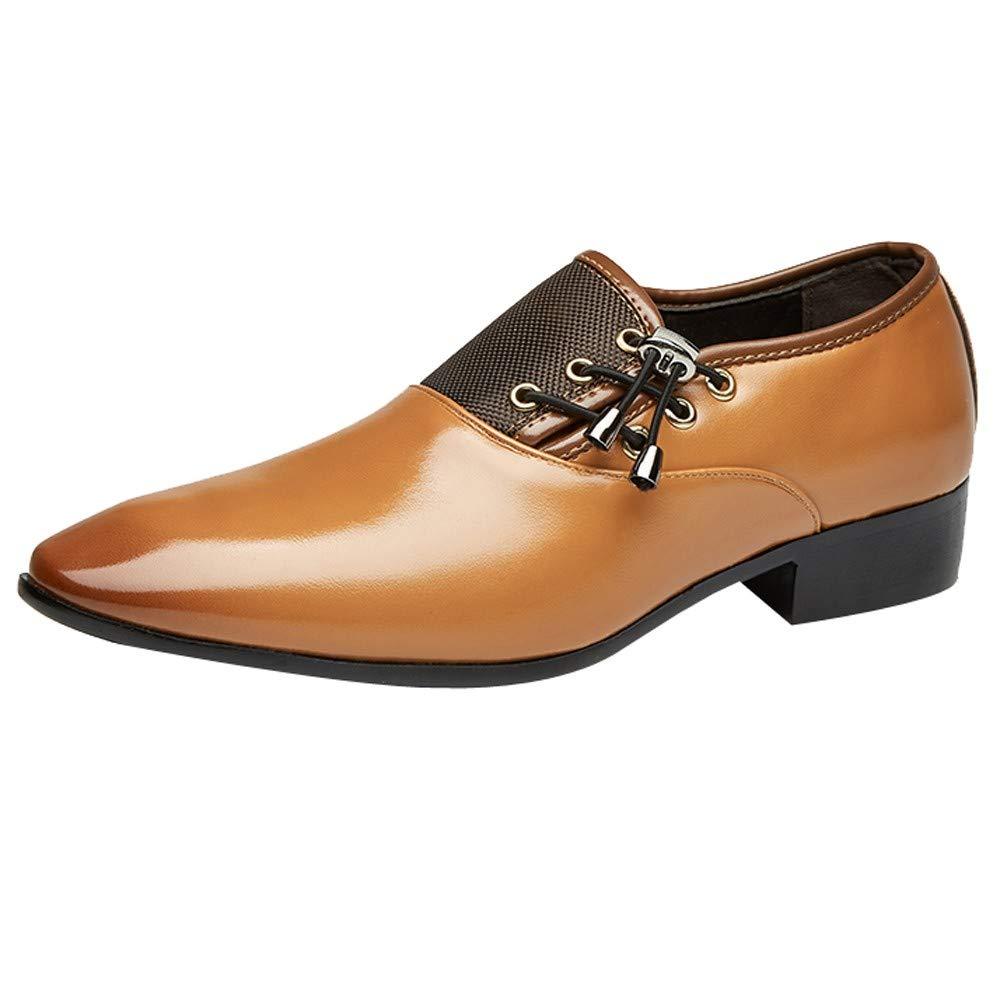 JiaMeng Zapatos de Oxford de Uniforme Zapatillas Casual Hombres de Estilo clásico con Cordones Forrados de Cuero y Perforados