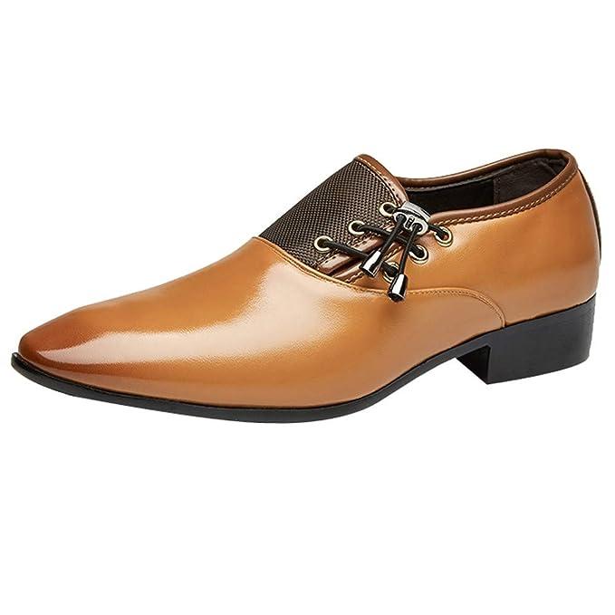 4b5f0161 Zapatos Hombre,ZARLLE Hombre Zapatos De Vestir Planos Oxford Zapatos de  Cuero Punta Puntiaguda Vintage Hombres Zapatos Casuales de Negocios Sin  Encaje ...