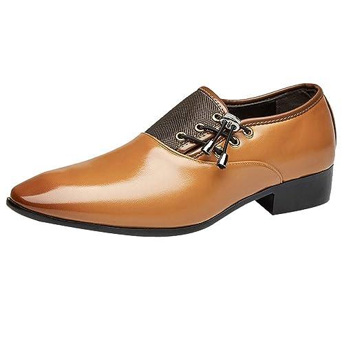 Zapatos Oxford Hombre, Cuero Vestir Cordones Calzado Boda Negocios Moda Uniforme Negro Marron Amarillo 38-47: Amazon.es: Zapatos y complementos