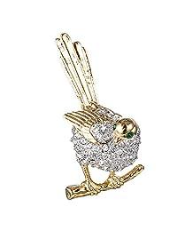 Ever Faith Gold-Tone Austrian Crystal Shining Lovely Cuckoo Bird Brooch Pin Clear N07784-1