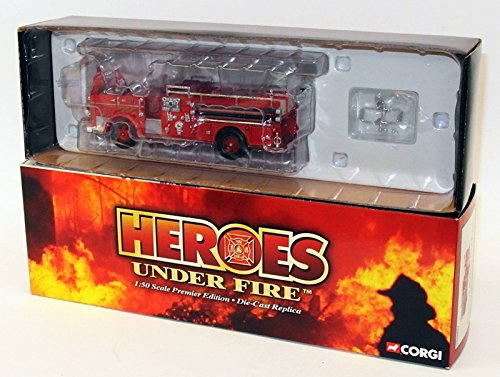 (CORGI HEROES UNDER FIRE, SEAGRAVE K OPEN CAB PUMPER, ENGINE CO. 9, KANSAS CITY, MO. 1:50 SCALE DIE CAST MODEL)