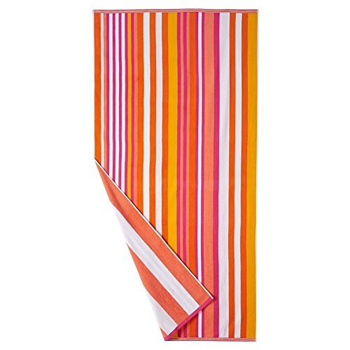 Large Beach Towel Oversized Adult 36x 74 (Pink Orange) (Beach Adult Towels)