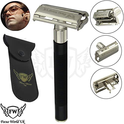 (Heavy Duty Classic Adjustable Double Edge Safety Razor with Premium Stainless Steel Chrome Plated Alloy)