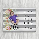 Personalized Month Milestone Baby Blanket - Grey Stripe Floral - Frame - 30 X 40 - Plush Fleece
