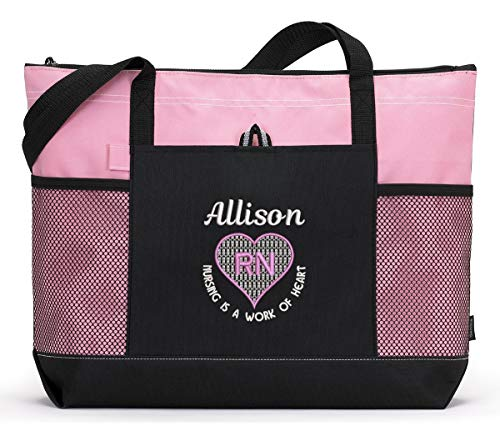 (Nursing is a Work of Heart Personalized Embroidered Nurse, CNA, RN, LPN Tote)