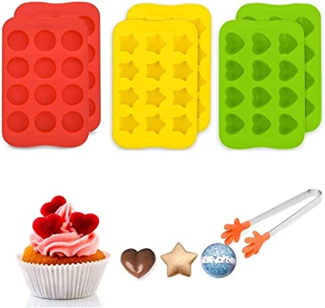 YunZyun Mini Semi Round Silicone Cake Mold 3D Flexible Silicone Cookie Candy Chocolate Reusable Soap Mould Teacake Cakes Fondant Candy Icing Tray Mold Coffee