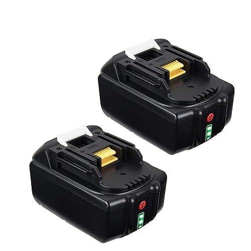 Reemplazo Batería para Makita, LYPULIGHT 2 Paquetes 18V 5.0Ah de Herramienta Eléctrica Batería Repuesto para Makita BL1860, BL1850, BL1840, BL1830, BL1815, 194205-3, LXT-400 Li-ion con Indicador