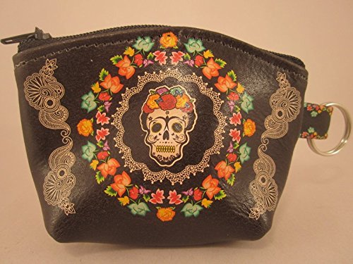 Indigo Desert Ranch - Day of the Dead Coin Purse - Leather Frieda Black Squ