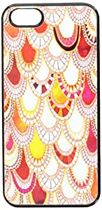Graphics and More Paisley Scallops Pink Orange White - Snap-On Hard Protective Case for Apple iPhone 5/5s - Non-Retail Packaging - Black