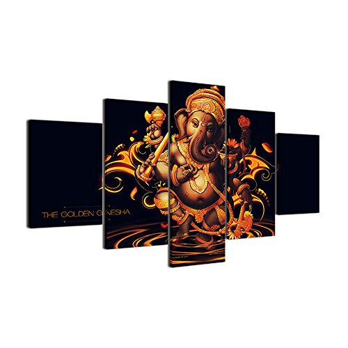 Black and White Paintings Lord Ganesha Wall Art 5 Panel Canvas Paintings Pictures Home Decor for Living Room Modern Artwork Wooden Framed Posters and Prints Gallery-wrapped Ready to Hang(50''Wx24''H)