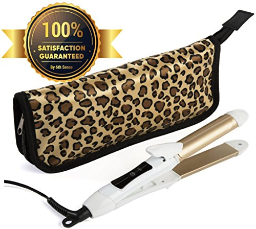 Travel Flat Iron 2-in-1 Mini Hair Straightener Curling Iron Dual Voltage 374 Degree Temperature Nano Titanium - Insulated Carry Bag Include (Flat Curling Irons)