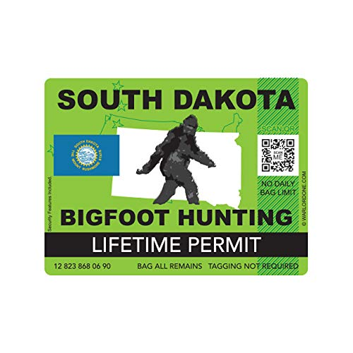 fagraphix South Dakota Bigfoot Hunting Permit Sticker Die Cut Decal Sasquatch Lifetime FA Vinyl - 4.00 Wide