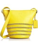Coach Mini Duffle Pop Lacing Whiplash Leather Shoulder Hobo Bag 35373 Yellow