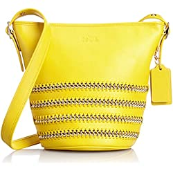 Coach Mini Duffle Pop Lacing Whiplash Leather Shoulder Hobo Bag 35373 Yellow