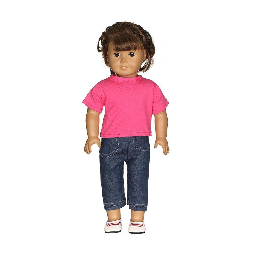 a358dffb9898d5 Sannysis Baby Dolls Clothes Jeans Outfit For 18 Inch Our Generation  American Girl Doll (Hot Pink)  Amazon.com.au  Toys   Games
