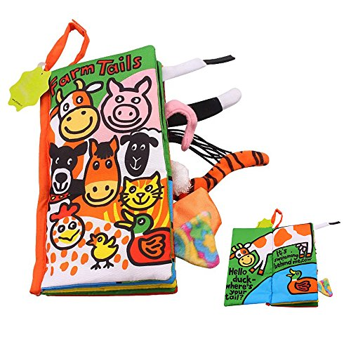 SUPOW Soft Cloth Books -Funny Animal Tails Cloth book Baby Toy Cloth Development Books for 3~24 Month Baby (Farm (Farm Tails Book)