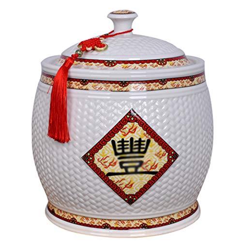 Ceramic rice cylinder Rice bucket Rice storage box Household storage tank Rice flour box Moisture proof insect proof rice cylinder Kitchen Storage & Organization