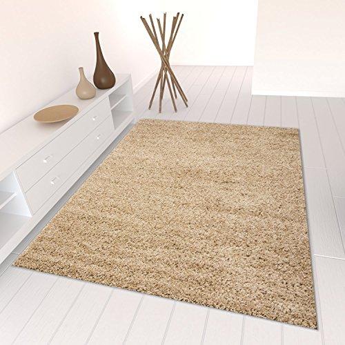 Star Shaggy Teppich Farbe Hochflor Langflor Teppiche Modern für Wohnzimmer Schlafzimmer Uni Farben - Teppich-Home, Farbe:Beige;Maße:120x170 cm