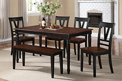 6 Pc Viola Collection Black Finish Wood Legs And Cherry Finish Wood Tops Dining  Table Set