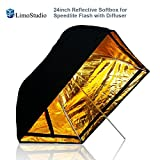 "LimoStudio 24""x24"" Photo Studio Speedlight Flash Reflective Umbrella Softbox Diffuser Black / Gold, Professional Photography Studio, AGG1880"