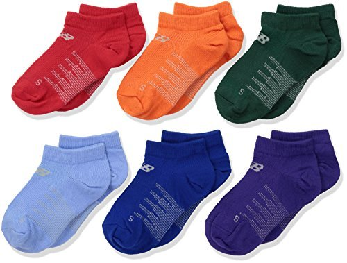 New Balance Children's No Show Socks (6 Pack), Red/Orange/Light Blue/Navy/Purple/Dark Green, Shoe Size 3.5-7 (Large) by New Balance