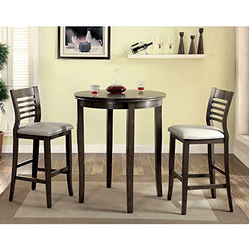 1PerfectChoice Dwight 3 pcs Round Dining Bar Table Barstool Chairs Padded Leatherette Wood Gray