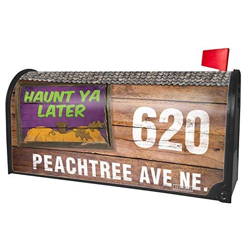 NEONBLOND Custom Mailbox Cover Haunt Ya Later Halloween Pumpkin Top -