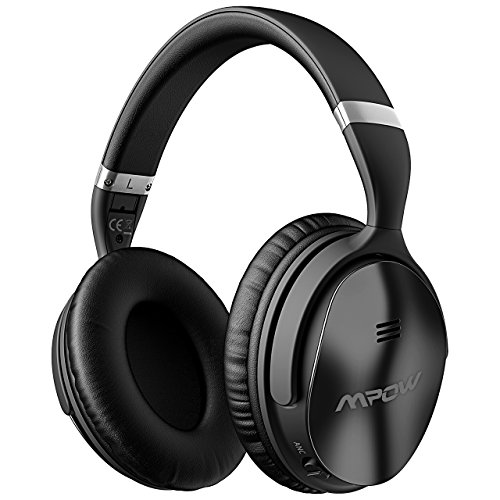 Over Ear Noise Cancelling Headphones (Mpow H5 Active Noise Cancelling Bluetooth Headphones, Over Ear Wireless Headset w/Mic, Dual 40 mm Drivers with Hi-Fi Deep Bass, 30+ Hour Playtime with Backup Audio Cable for PC/Cell Phones/TV)