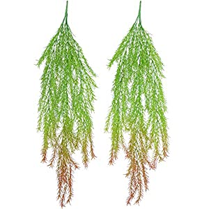 Lvydec Artificial Hanging Plants, 2pcs Fake Hanging Leaves Vine Plant Greenery Decor for Wall Garden Wedding Hanging Basket 48