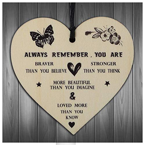 Gifts For WomenFriendship Gift Her You Are Braver Stronger Smarter Beautiful Wooden Hanging Heart Best Friends Plaque Birthday Female