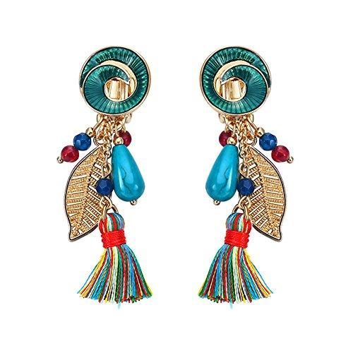 Tassel Earrings Beaded Tiered Thread Earrings Bohemia Dangle Earrings for Women Clip On,Green Resin