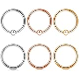 Captive Bead Ring 16G 10mm 3/8 Inch Surgical Steel Seamless Clicker Ring Nostril Rings Tragus Helix Body Piercing Silver Gold Rose Gold 6Pcs